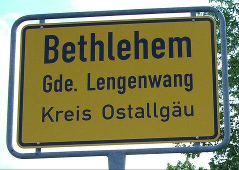 Town Sign, Allgäu, Germany, Bethlehem, Lengenwang
