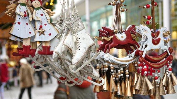 Christmas Market, Market, Colorful, Skates, Angel