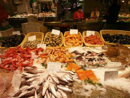 Fishmonger, Fish, Market Hall, Barcelona, Fish Stand