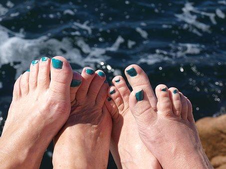 Feet, Nail Polish, Tear, Sea, Summer, Barefoot, Beach