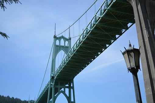 St, John's Bridge, North Portland, Bridge, Gothic, Usa
