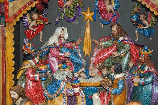 Crib, Christmas, Colorful, Nativity Scene, Santon