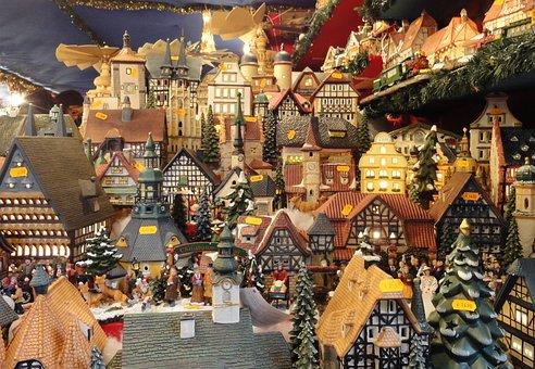 Christmas Market, Christmas, Sales Stand, Houses