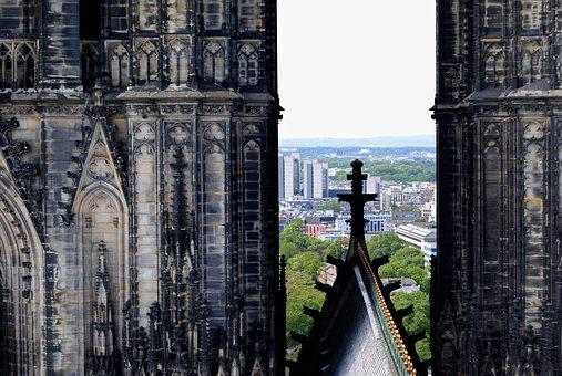 Cross, Double Tower, Towers, Bell Tower, Gothic