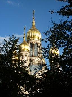 Russian Chapel In Wiesbaden, Gold, Domed Roof