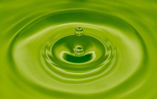 Water, Drop, Green, Close Up, Macro, Circles, Wet