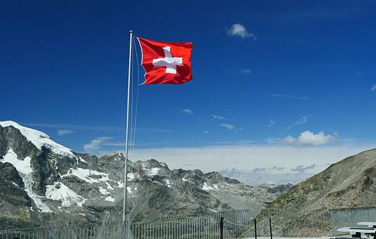 Switzerland, National Flag, Graubünden, Engadin, Alpine