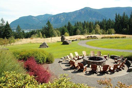 Garden, Portland Oregon, Peace, Fireplace