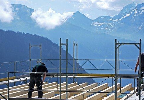 Building Construction, Site, Floor Joists, Scaffold