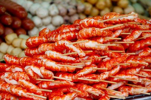 Crabs, Market, Fish Market, Red, Food, Market Stall