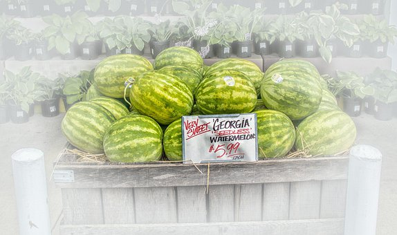 Watermelons, Fruit Stand, Fruit, Vendors, For Sale