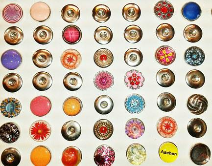 Button, Badges, Jewellery, Glass Jewellery, Press-studs