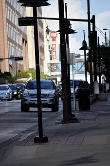 Downtown, Dallas, Cars, Light Posts, Busy, Rush Hour