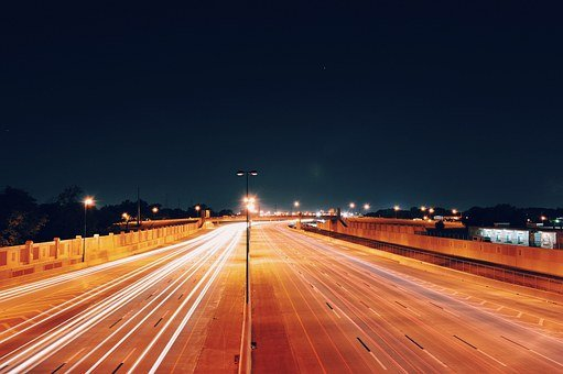 Transport, Highway, Lights, Speed, Night, Motion