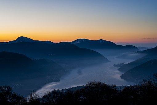 Mountain, Lake, View, Scenic, Sunset, Sunrise, Nature