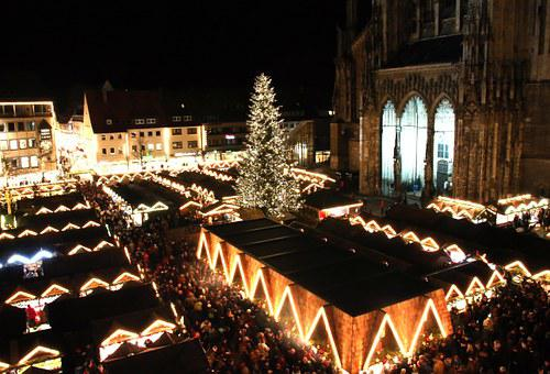 Christmas Market, Ulm, Ulm Cathedral, Night, Lights