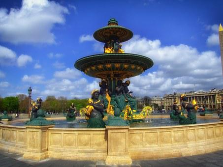 Place De La Concord, Fountain, Water, Architecture
