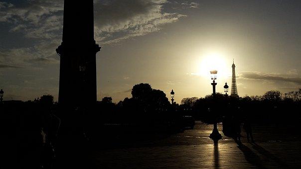 Paris, Place De La Concorde, Sunset