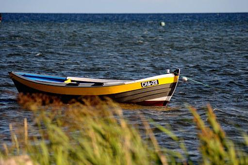 Sea, Polish, Horizon, Boat, Chalupy, Beach, Summer