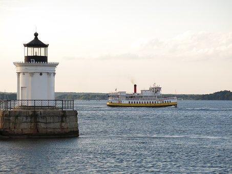 Maine, Breakwater, Portland, Bug, Light, Navigation