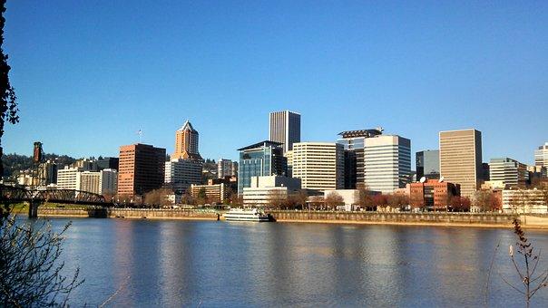 City, Portland, Oregon, Downtown, River, Cityscape