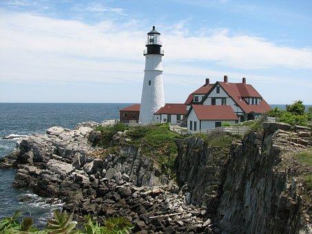 Portland Headlight, Lighthouse, Maine, Portland, Coast