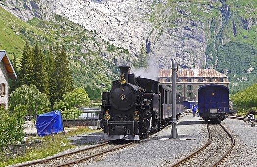 Steam Railway Furka-bergstrecke, Rhône Glacier