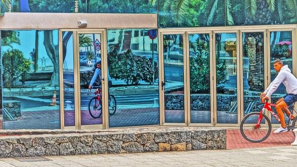 Showcase, Bicycle, Reflections, Mirrors, Open Air, Sun