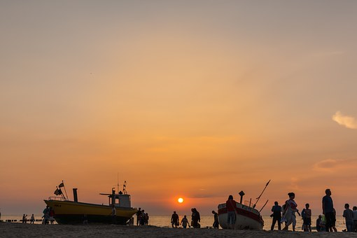 People, Sunset, Sea, Beach, Mood, Silhouettes, Evening