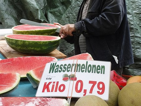 Water Melons, Market, Delicious, Red, Stand, Close Up