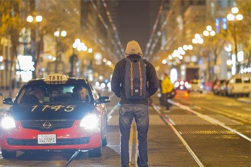 Taxi, Cars, People, Backpack, Hoodie, Jacket, Jeans