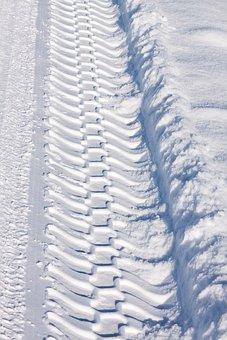 Trace, Snow, White, Sunny, Tire Track, Tractor, Winter