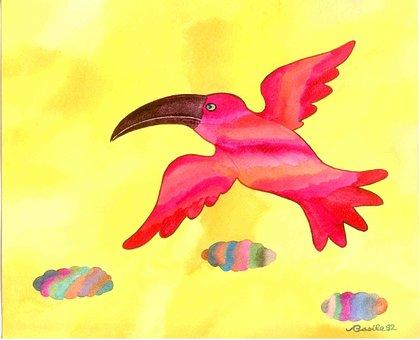 Watercolor, Toucan, Artwork, Bird, Design, Drawing