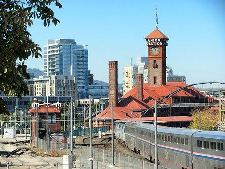 Portland, Oregon, Train Station, Depot, Railroad, Train