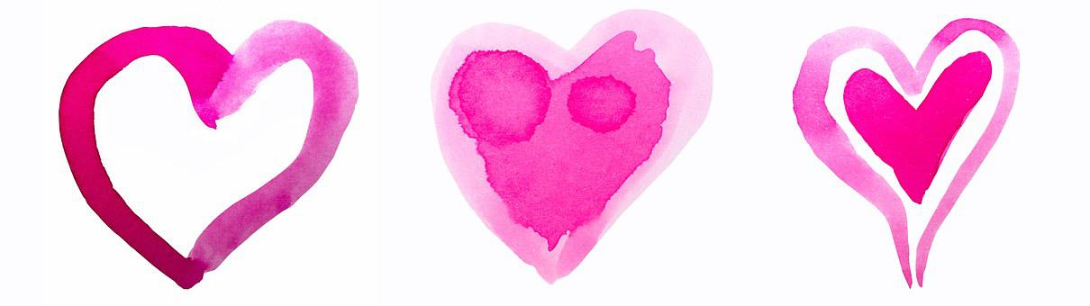 Heart, Watercolor, Watercolour, Red, Pink, Valentine