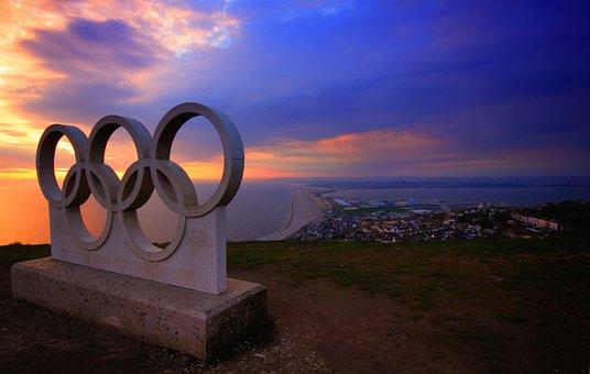 Portland, Olympic, Rings, Sunset, Weymouth, Beach, Blue