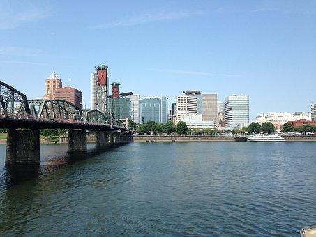 Portland, Downtown, Waterfront, Willamette River, River