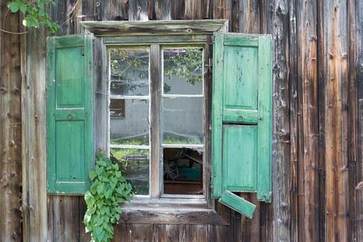 Hut, Wood, Window, Shutter, Glass, Broken, Old, Damaged