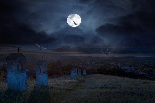 Halloween, Cemetery, Dark, Night, Chilling, Moon, Tomb