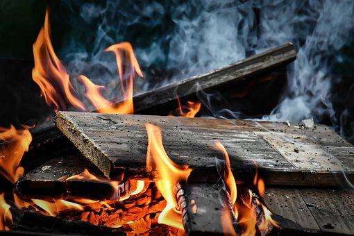 Fire, Flame, Smoke, Wood, Burn, Heat, Hot, Light, Glow