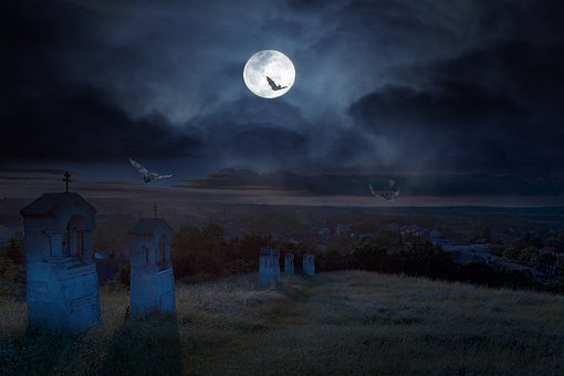 Halloween, Cemetery, Dark, Night