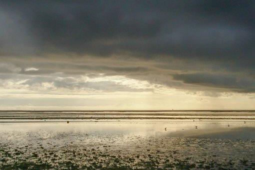 Wadden Sea, West Coast, Esbjerg, Denmark, Ebbe, Sky