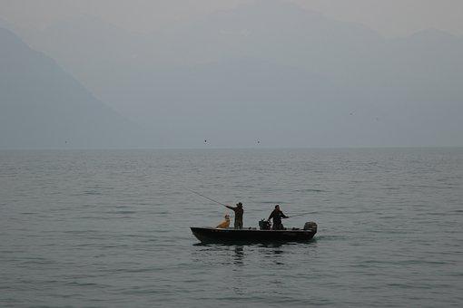 Haze, Boat, Fishing, Horizon, Landscape