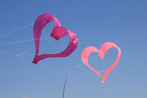 Kite Flying, Heart, Sky, Fun, Dragons, Blue, Flying