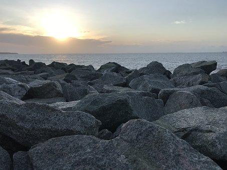 Sunset, Mar, Ocean, Landscape, Horizon, Calm