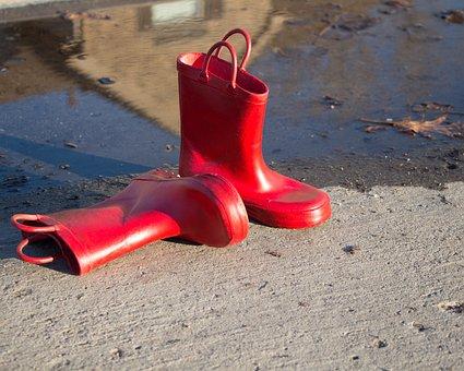 Rainboots, Rain Boots, Red, Puddle, Rain, Messy, Rainy