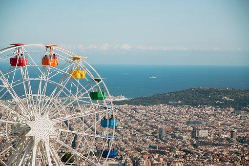 Tibidabo, Barcelona, Bcn, Park, Attractions, Wheel