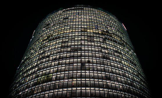 Night Photograph, Long Exposure, Office Building
