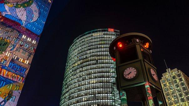 Night Photograph, Long Exposure, Night, Office Building