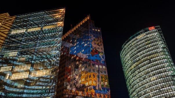 Night Photograph, Long Exposure, Building, Skyscrapers